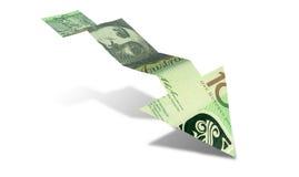 Australian Dollar Bank Note Downward Trend Arrow. An arrow graph trend shaped 100 australian dollar bank note showing an economic downward trend on an isolated vector illustration