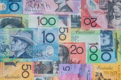 Australian dollar bank notes. Background Stock Photos
