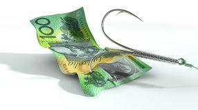 Australian Dollar Banknote Baited Hook Stock Photo