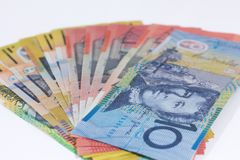 Australian Dollar banknote with a complete system of banknotes made from polymer stock images