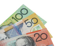 Australian Dollar banknotes. In denominations of 20, 50 and 100, isolated on white background Royalty Free Stock Images
