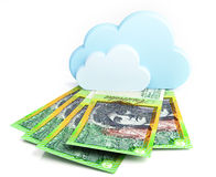 Australian dollar banknotes under cloud Royalty Free Stock Image