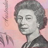 The Australian dollar - bill denomination of five dollars. Background stock images