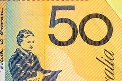 Australian 50 dollar bill fragment closeup showing the number fi Stock Photography