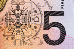 Australian 5 dollar bill fragment closeup showing the Parliament Royalty Free Stock Images
