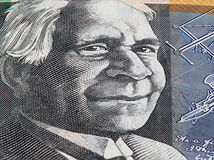 Australian 50 dollar bill macro - portrait of David Unaipon closeup. stock images