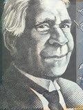 Australian 50 dollar bill macro - portrait of David Unaipon. Closeup royalty free stock photography