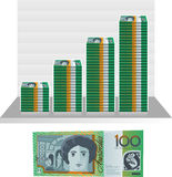 Australian dollar bill money paper graph. Illustration cartoon Royalty Free Stock Images