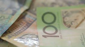 Australian dollar bills rotating stock footage