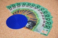 Australian 100 dollar bills. Spread out like a fan Stock Image