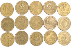 Australian Dollar coins. Close up of many different faces of the Australian Dollar coin Royalty Free Stock Image
