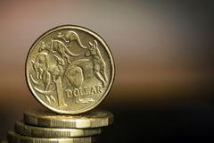 Australian Dollar Coins over Blurred Background with Copyspace.  Stock Photography