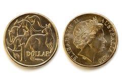 Australian Dollar Front and Back. Australian dollar coin, front and back,  on white background with soft shadow Stock Image
