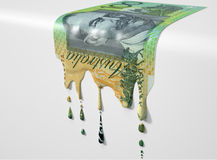 Australian Dollar Melting Dripping Banknote Stock Images