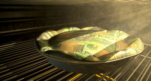 Australian Dollar Money Pie Baking In The Oven Stock Photography