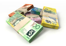 Australian Dollar Notes Bundles Stack. A stack of bundled australian dollar notes on an isolated background Stock Image