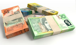 Australian Dollar Notes Bundles Stack Stock Images