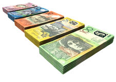 Australian Dollar Notes Collection. A uniform stack of bundled australian dollar notes on an isolated background Royalty Free Stock Image