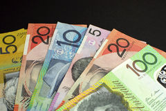Australian dollar notes money - with copy space at top. royalty free stock photography