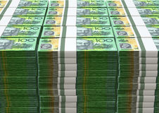 Australian Dollar Notes Pile Stock Image