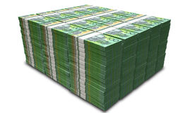 Australian Dollar Notes Pile. A pile of wads of australian dollar banknotes on an isolated background Royalty Free Stock Image