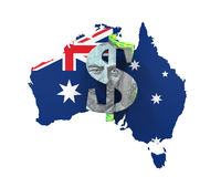 Australian Dollar Symbol and Map Royalty Free Stock Image