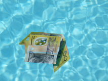 Australian Dollars. Australian Fifty dollars notes diving in the swimming pool Stock Photos
