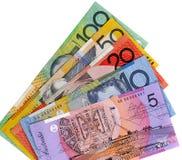 Australia, Australian dollar bills overlapping fan shape isolated on white background Stock Images