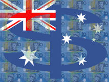 Australian dollars and flag Stock Photo