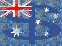 Australian dollars and flag Stock Photo