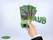 Australian dollars money paper on hand,cash on hand Stock Image