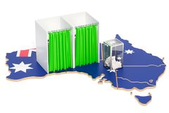 Australian election concept, ballot box with voting booths on ma. P of Australia, 3D rendering isolated on white background Stock Photos