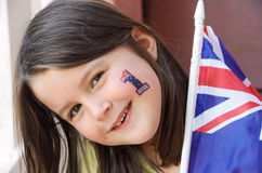 Australian Fan. A young girl proudly celebrating Australia day (26 January) or supporting an Australian sports team royalty free stock photography