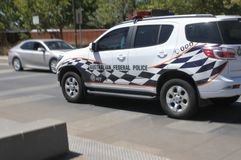 Australian Federal Police vehicle in Canberra Parliamentary Zone Australia Capital Territory. Australian Federal Police vehicle in Canberra Australia Capital royalty free stock image