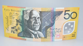 Australian Fifty Dollar Banknote Standing Up Stock Photography
