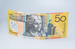 Australian Fifty Dollar Banknote Standing Up. Edith Cowan Side Up Royalty Free Stock Photography