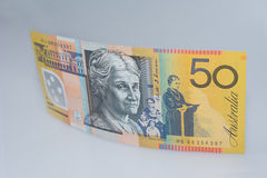 Australian Fifty Dollar Banknote Standing up Edith Cowan Site royalty free stock photo
