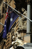Australian flag. And architecture detail, photo taken in Sydney Stock Photography