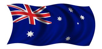 Australian Flag. Waving in the wind - CLIPPING PATH INCLUDED Royalty Free Stock Photos