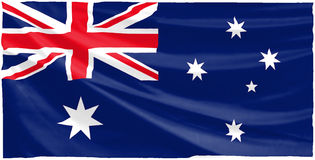 Australian flag. Bright australian flag with ripples Royalty Free Stock Photography