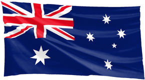 Australian flag. Flapping in the wind Stock Images