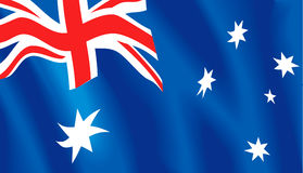 Australian flag. Wavy flag of Australia. Vector illustration format available Stock Image