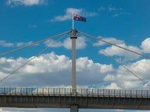 Australian flag atop Westgate Bridge, Melbourne. Royalty Free Stock Image