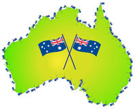 Australian flag australia map Royalty Free Stock Image