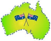 Australian flag australia map vector illustration