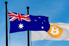 Australian flag and Bitcoin Flag. Waving over blue sky 3D rendering Stock Photo
