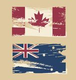 Australian flag, Canadian flag Stock Photography