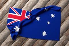 Australian flag. 3d rendering of an australian flag on a wooden table Stock Photos