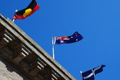 Australian flag eureka flag aboriginal flag Royalty Free Stock Photos