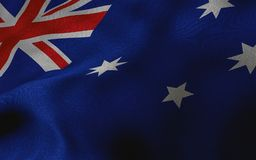 Australian flag with fabric texture. 3D remder. Australian flag with fabric texture. Background. 3D render Royalty Free Stock Image